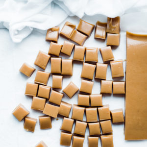 caramels cooked and cut