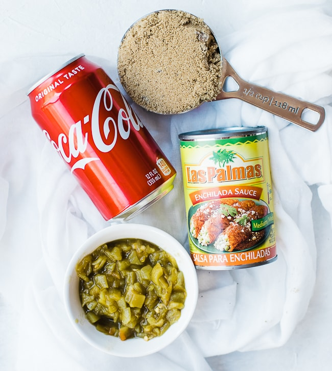 can of coke, enchilada sauce, green chili's and brown sugar for sweet pork sauce