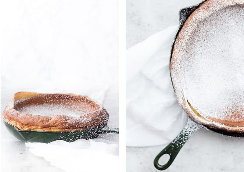 A collage image of german pancakes in a skillet
