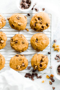 pumpkin chocolate chip cooking on cooling rack