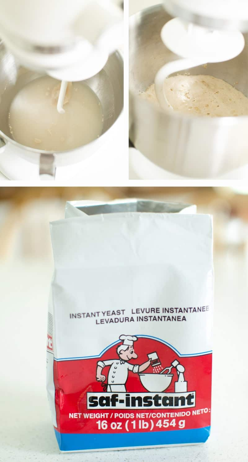 images of instant yeast being mixed in bowl and rising, and image of yeast bag