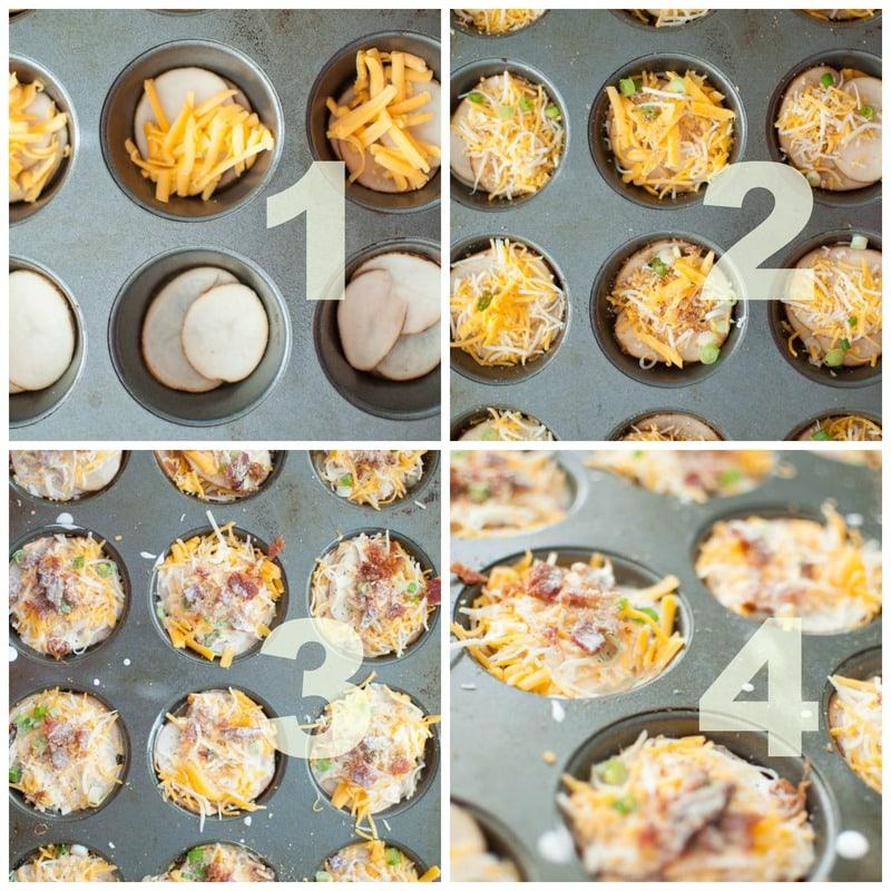 collage of steps for making potato gretins. putting ingredients in cupcake tin