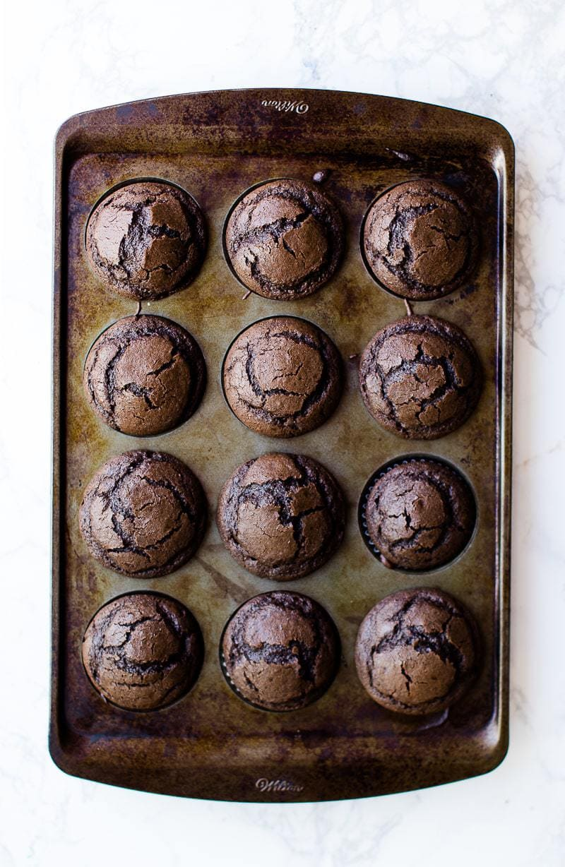 baked chocolate cupcakes in muffin tin