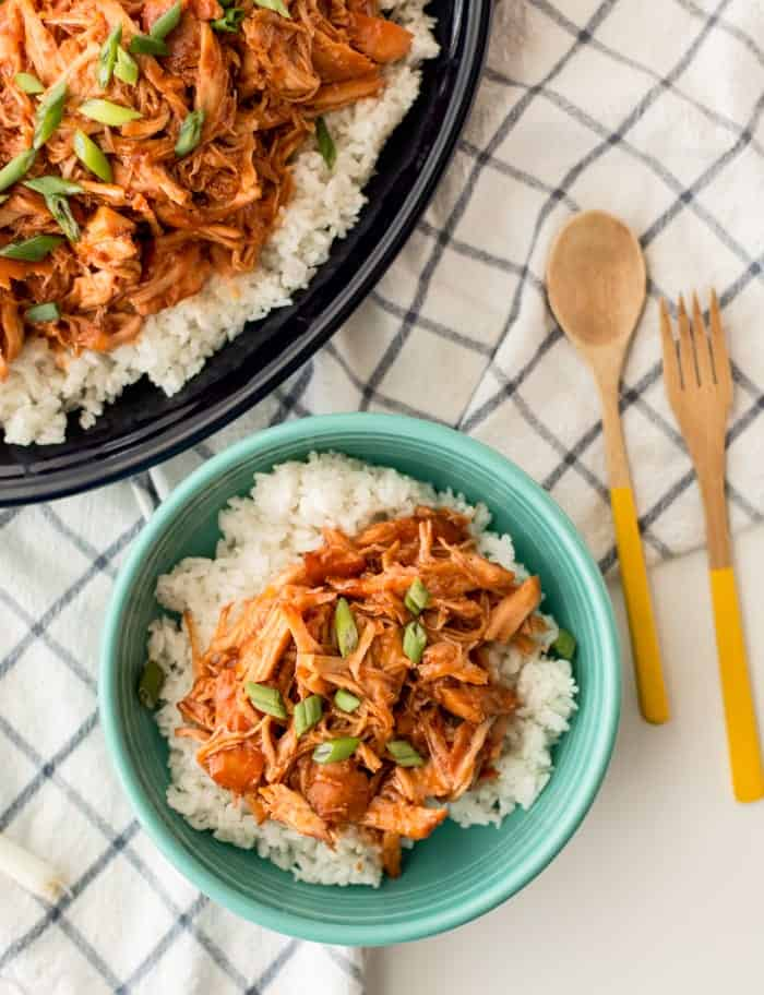 bowl of apricot chicken with rice