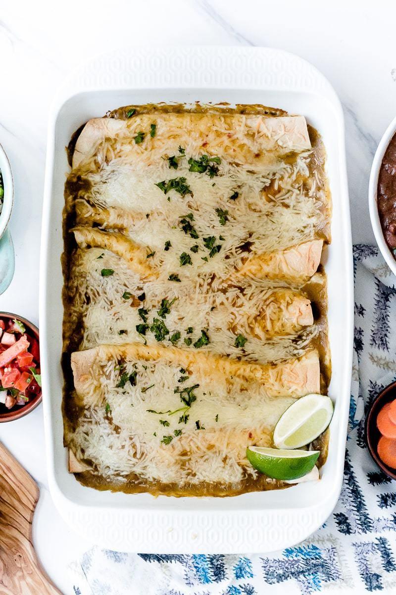 Green Enchiladas in baking dish