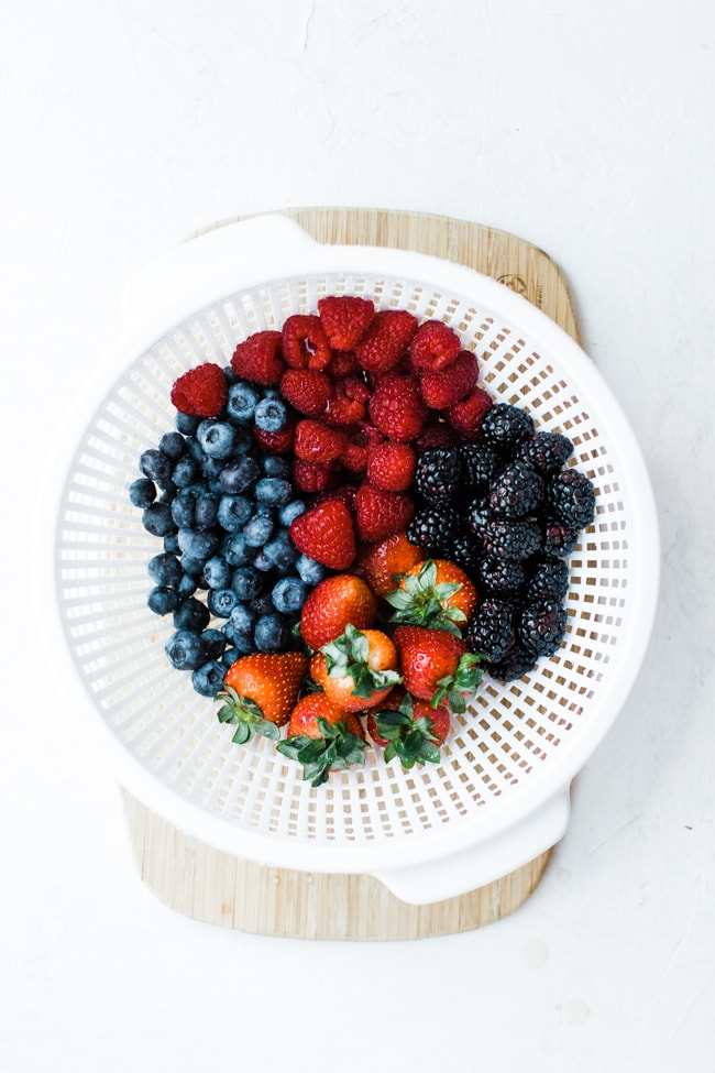 berries washed in a colander