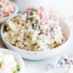 45 degree shot of marshmallow popcorn piled high in a bowl