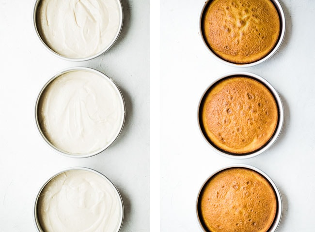 two pictures side by side of three cake pans. One side is batter one side is cooked white cakes