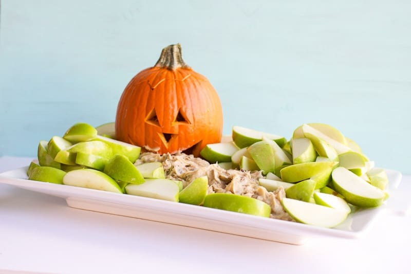 Toffee Apple Dip on plate with pumpkin