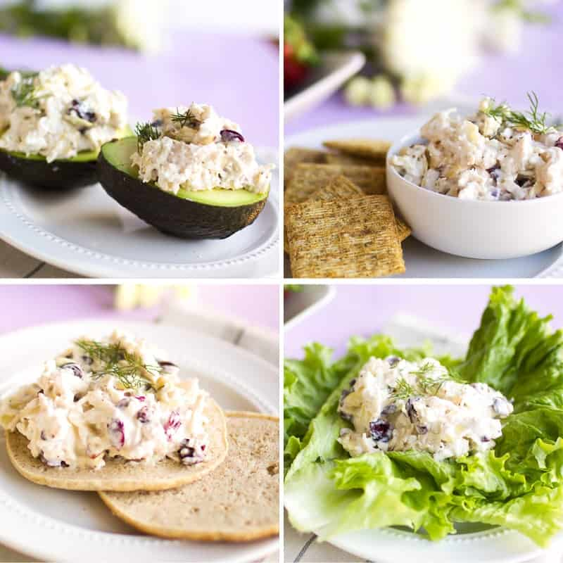 Chicken Salad Collage with 4 different ways to eat it