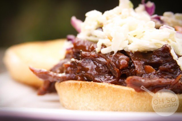 Blue Slaw {with bbq pulled beef sandwiches}