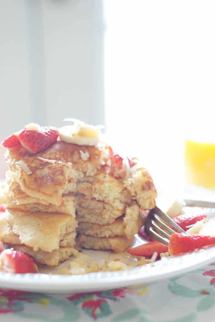 Tropical Pancakes with Coconut Syrup