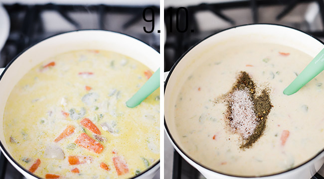 Process shots of how to make clam chowder.