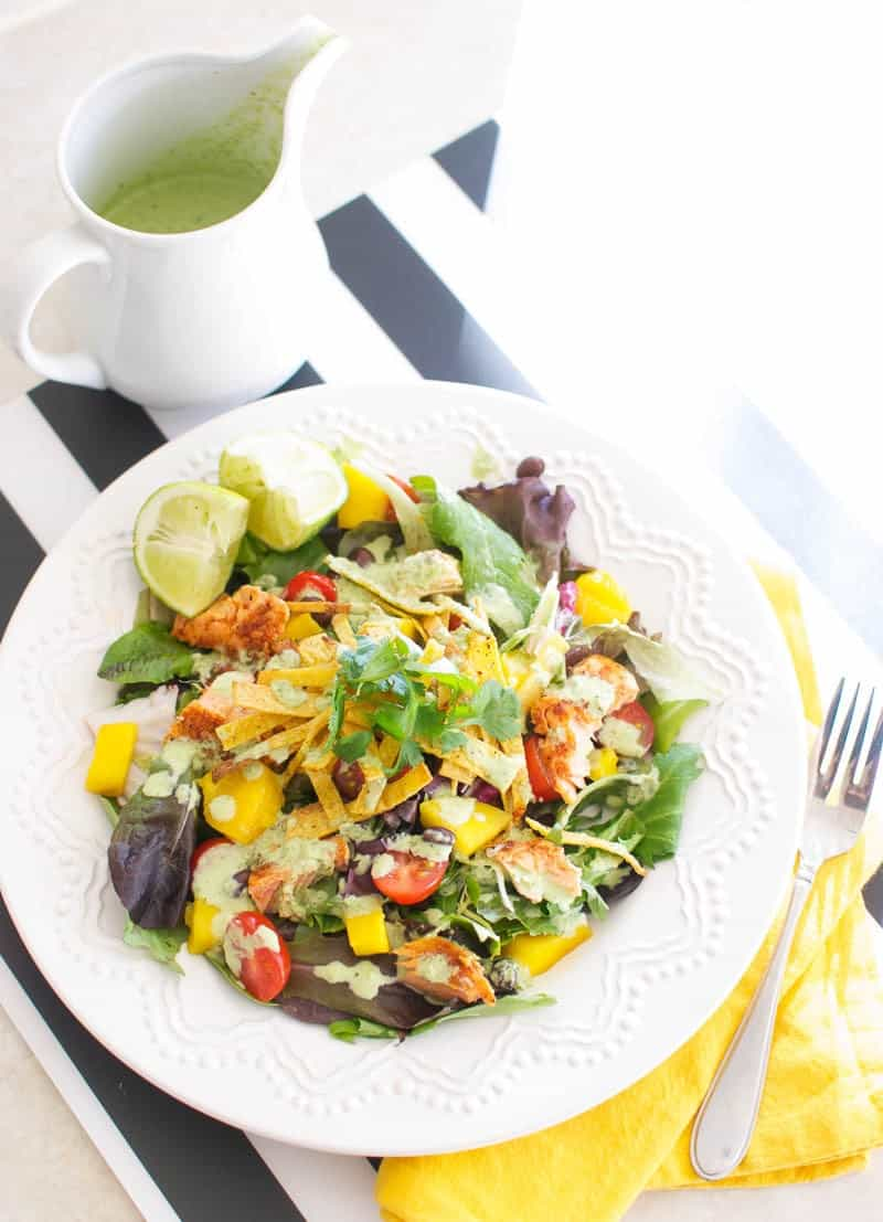 Caribbean Salad with Spicy Salmon and Creamy Tomatillo Cilantro Dressing