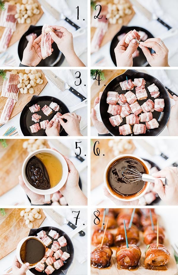 Bacon wrapped water chestnut recipe process.