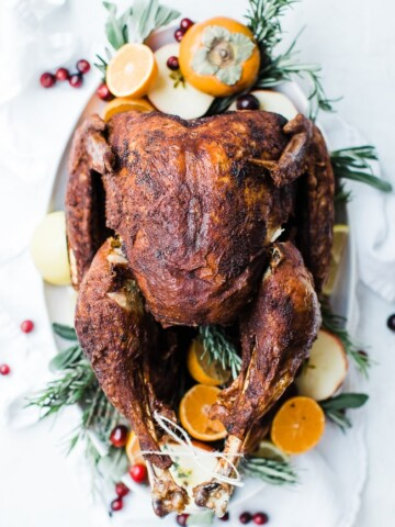 turkey on platter with garnish