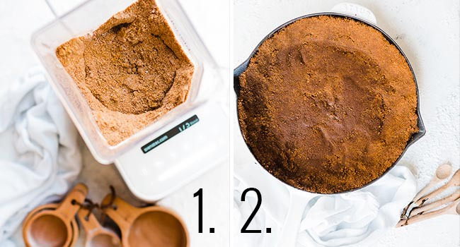 Pumpkin Pie With Gingersnap Crust - crust process shots.