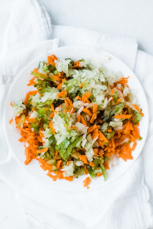 onion, carrot and bell pepper grated