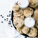 cookies on a tray with milk