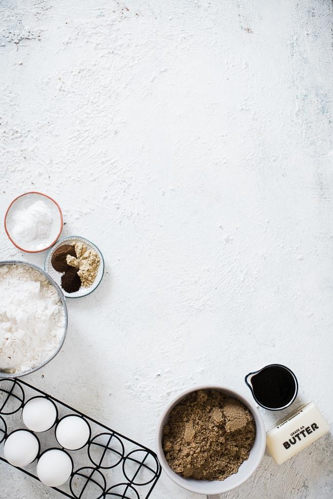 Ingredients for molasses cookies,