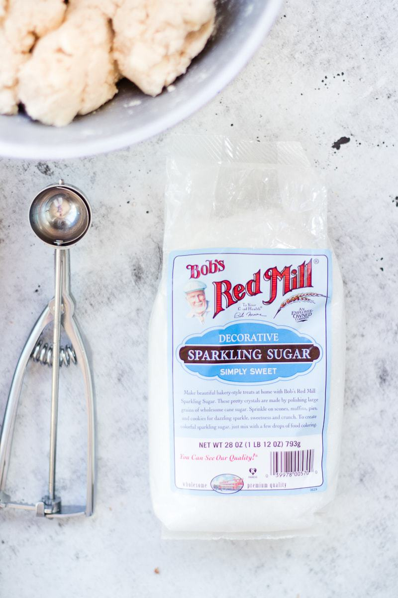 An overhead shot of Bob's red mill sparkling sugar used to make white chocolate chip cookies