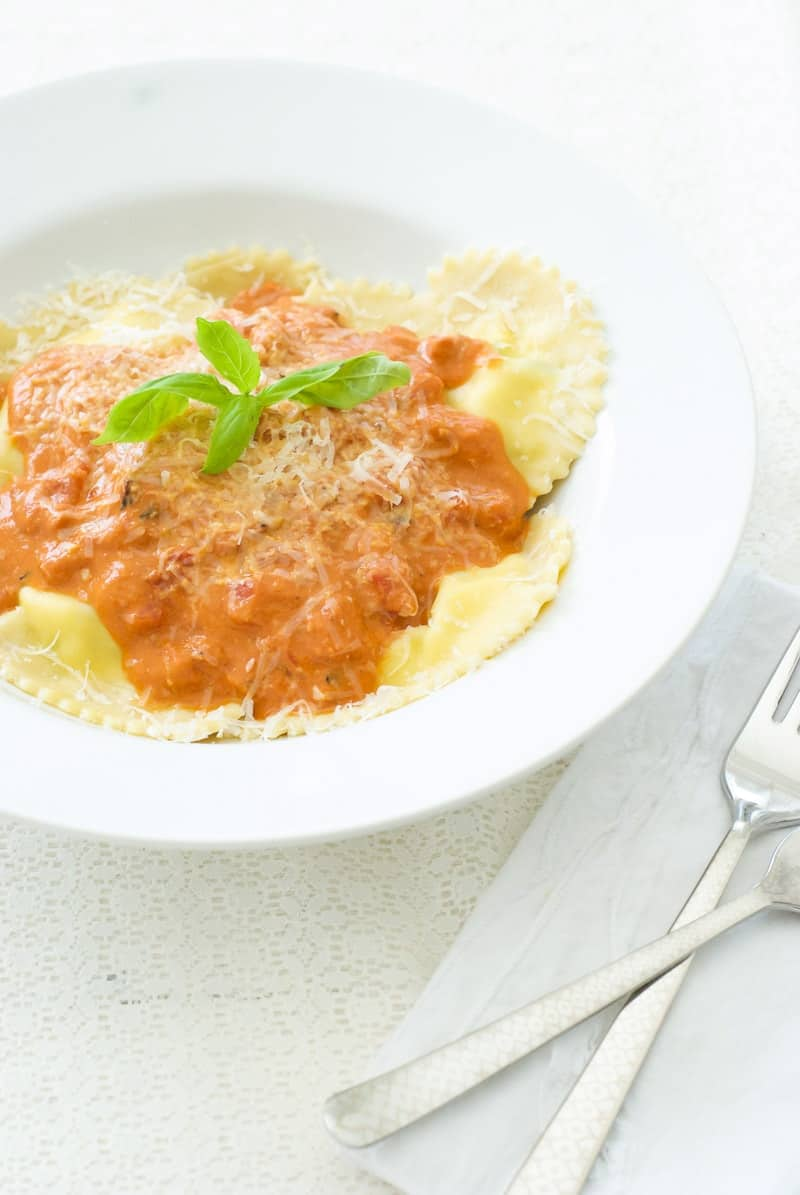 Ricotta Basil Ravioli with Tomato Cream Sauce - Oh So ...