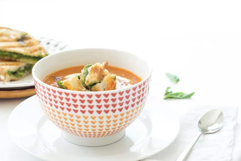 Roasted Tomato Soup with Pesto Grilled Cheese