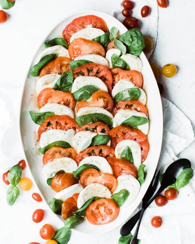 caprese salali with salt and pepper on top