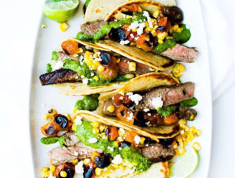 A close up of Chimichurri Steak Tacos