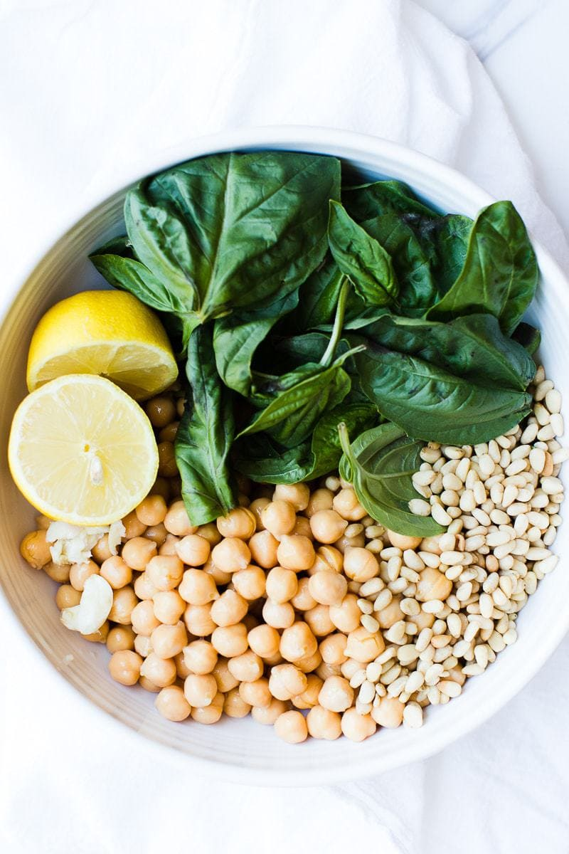 Lemon Basil Hummus ingredients