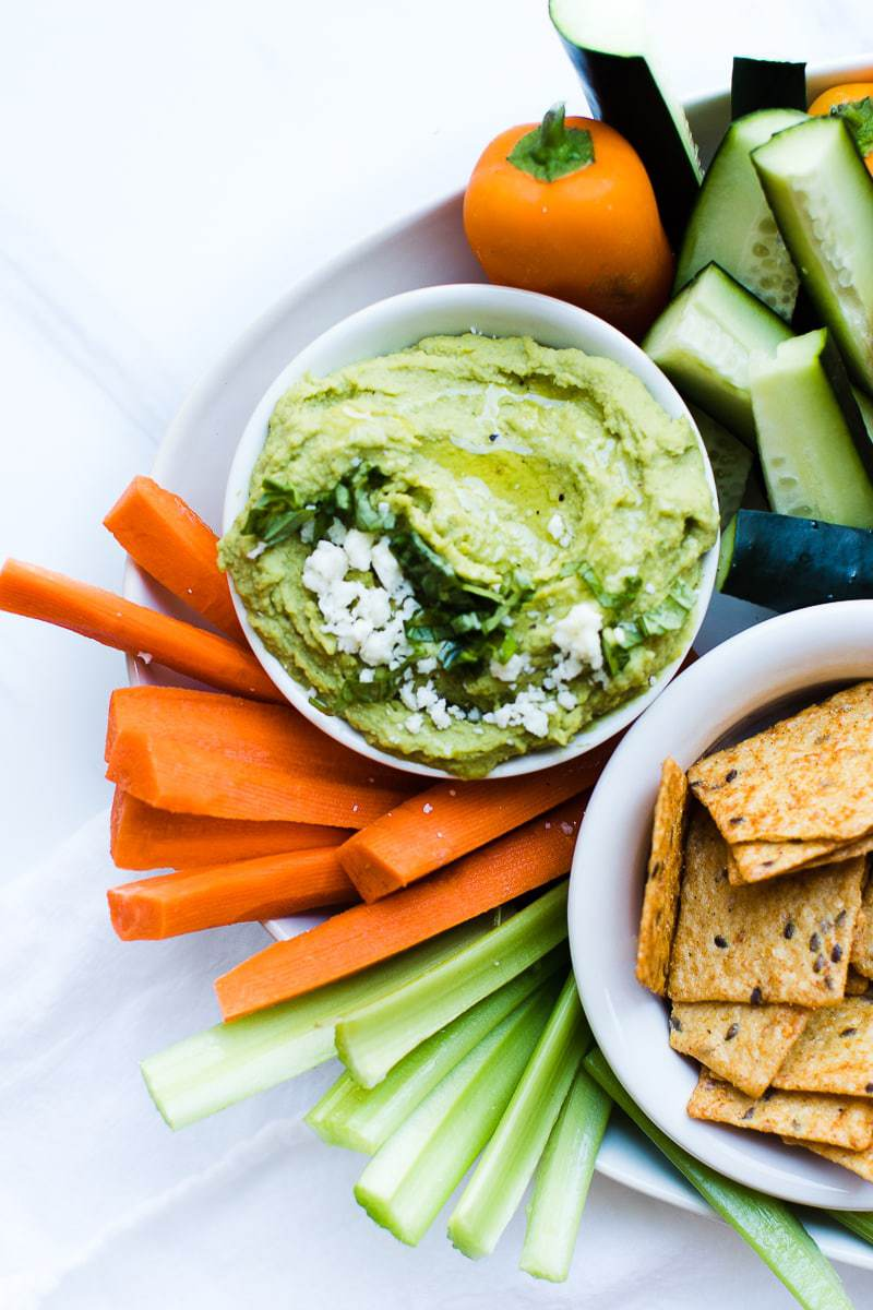 Lemon Basil Hummus with vegetable and cracker dippers