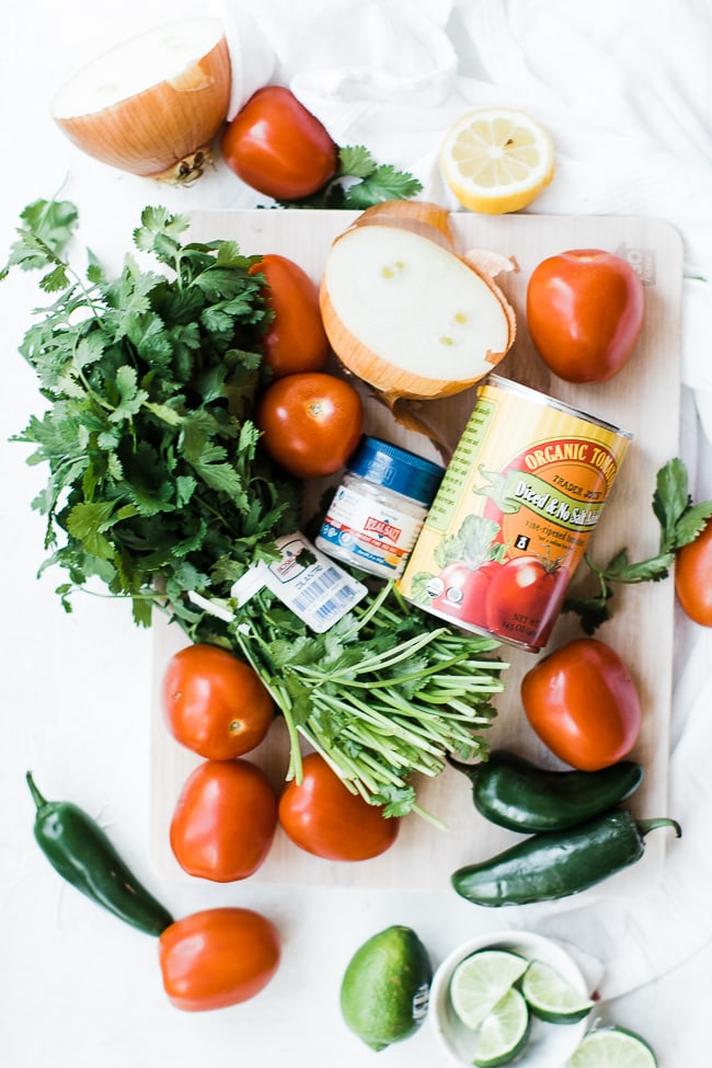 cilantro, roma tomatoes, canned tomatoes, limes, salt jalapeno