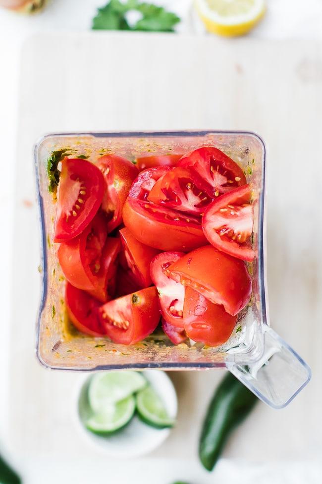 quartered tomatoes in blender