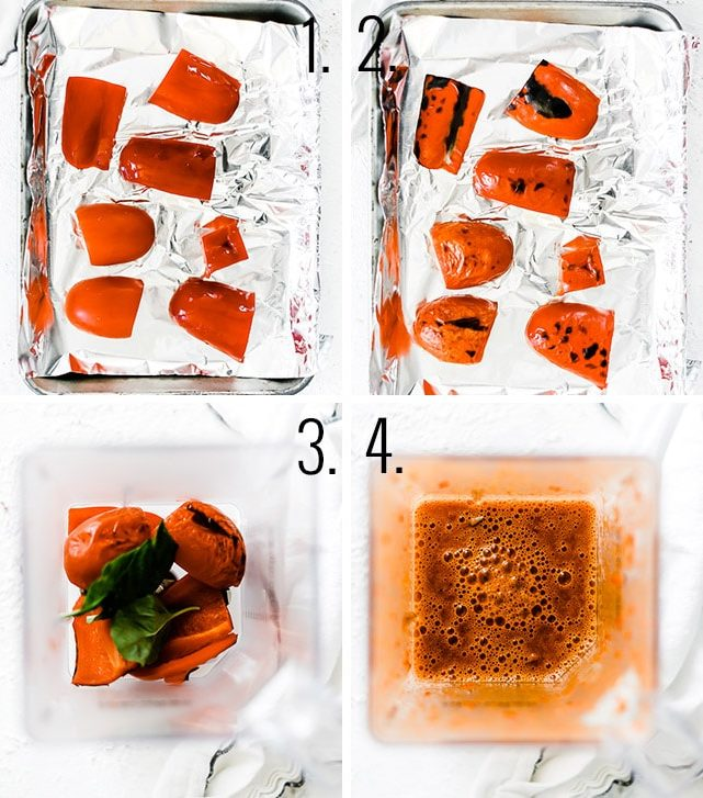 How to make roasted red pepper sauce.