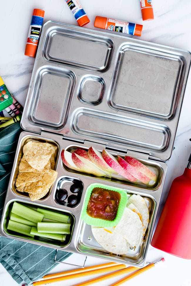 non-sandwich school lunch with quesadillas, chips, and salsa in a stainless lunchbox.
