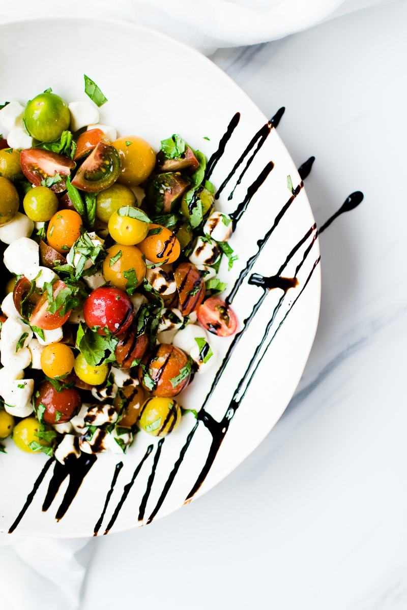 caprese salad recipe in white bowl