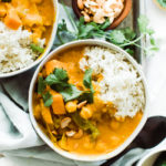 up close shot of pumpkin coconut curry