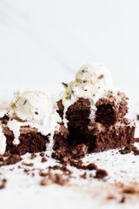 pieces of chocolate cake topped with ice cream