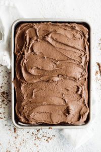 sheet cake with frosting spread evenly