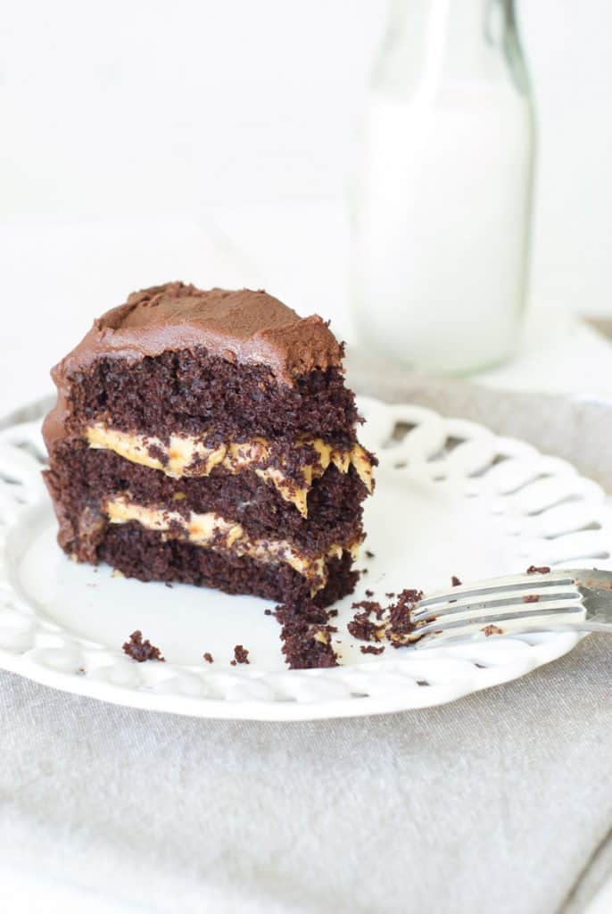 A slice of Cinnamon Chocolate Cake with Salted Dark Caramel Filling on a plate with a fork