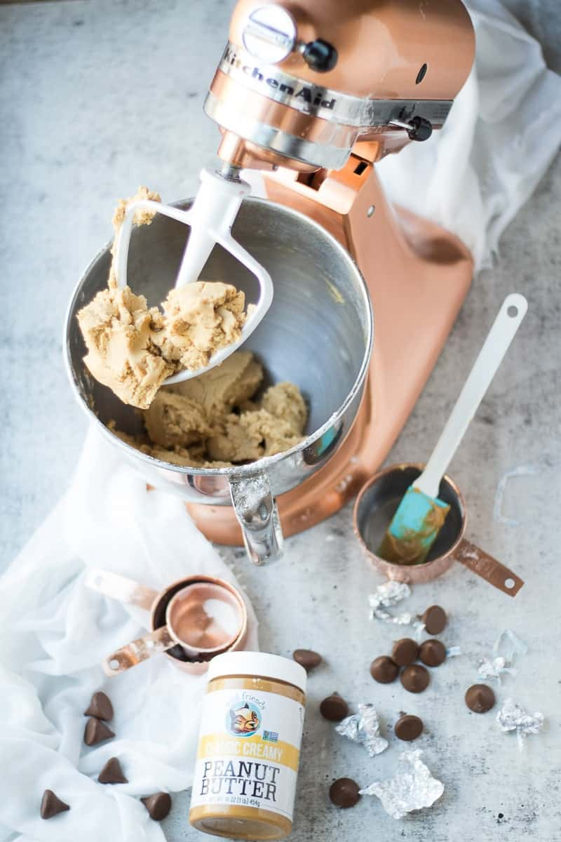 Ingredients For Peanut Butter Blossoms in a kitchenaid