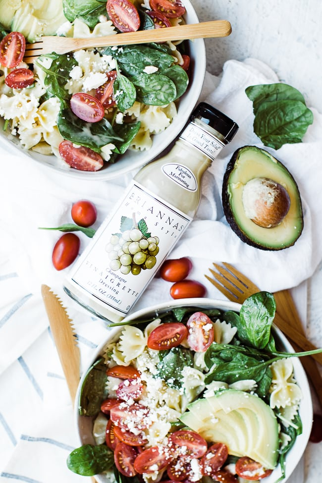 healthy bow tie pasta and champagne dressing