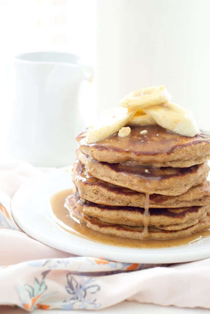 Whole Wheat Banana Pancakes with Peanut Butter Cinnamon Syrup