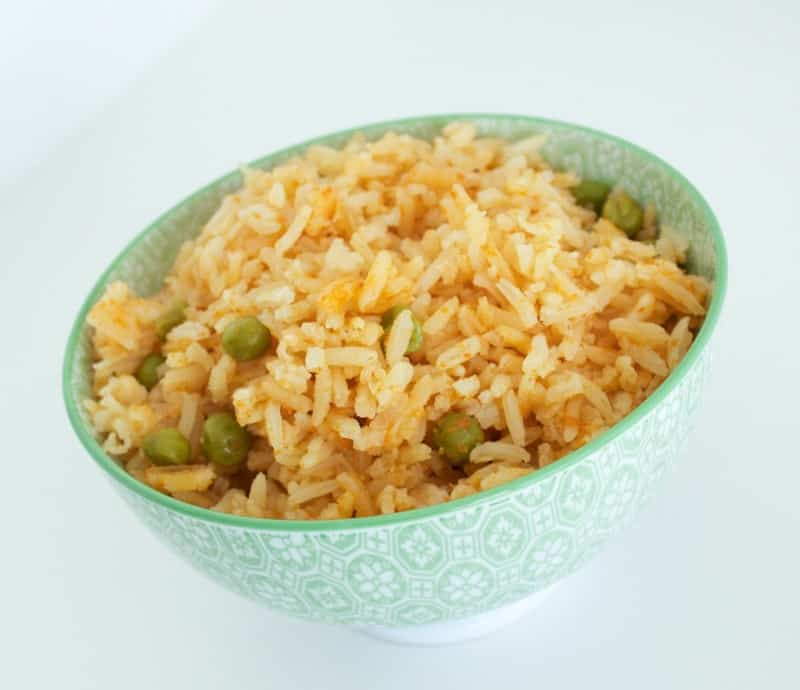 Authentic Mexican Rice in patterned bowl close up shot