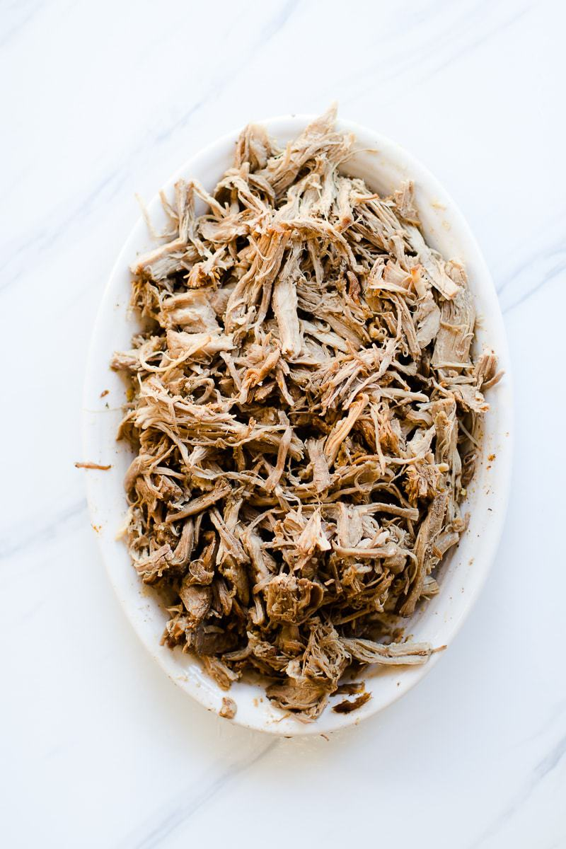 shredded pork on a platter