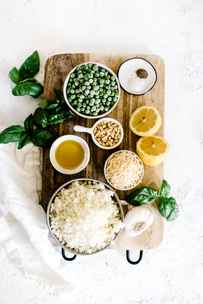 Ingredients for lemon pesto rice.