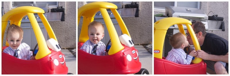 A collage image of a small boy in a play car