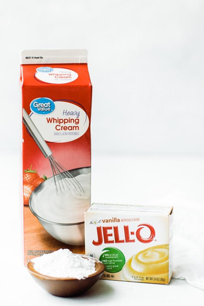 whipping cream, pudding and powder sugar