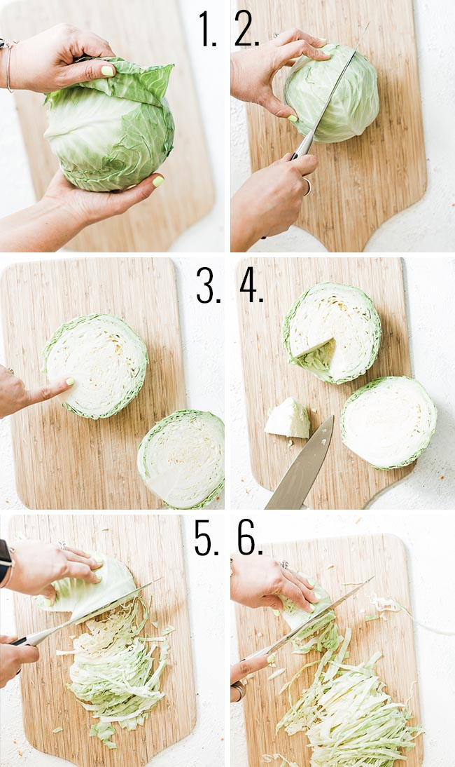 How to cut cabbage for coleslaw.