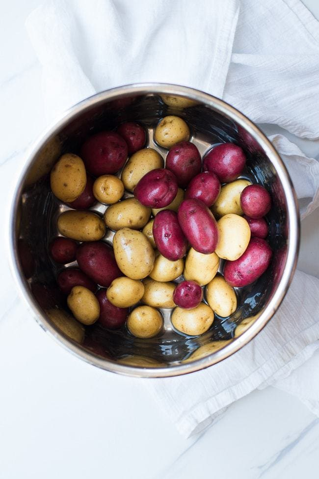 potatoes in a pan of water